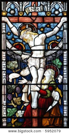 Crucifixion Of Jesus In Stained Glass