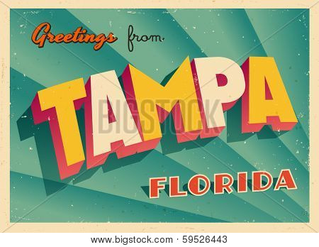 Vintage Touristic Greeting Card - Tampa, Florida - Vector EPS10. Grunge effects can be easily removed for a brand new, clean sign.