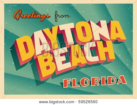 Vintage Touristic Greeting Card - Daytona Beach, Florida - Vector EPS10. Grunge effects can be easily removed for a brand new, clean sign.