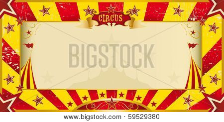 A circus yellow and red invitation for your show