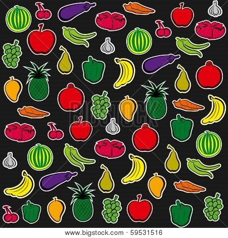 vegetable and fruit pattern background vector