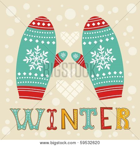 Illustration of beautiful winter mittens. This is file of EPS8 format. poster