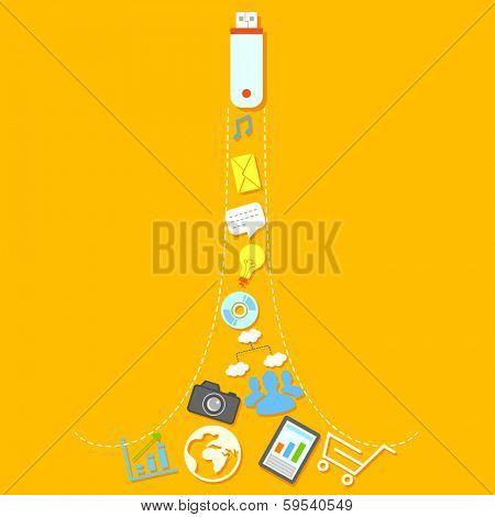 illustration of flat social media icons coming out of USB pendrive