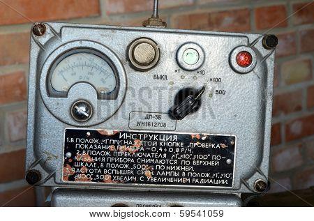 KIEV, UKRAINE -NOV 3: Vintage Soviet Geiger counter during historical military reenactment, festival and exhibition, November 3, 2013 Kiev, Ukraine