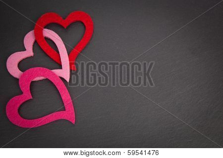 Chalkboard With Red And Pink Hearts