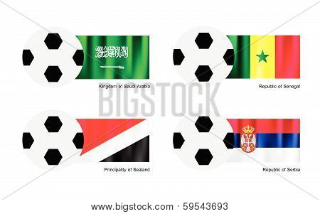 Soccer Ball With Saudi Arabia, Senegal, Sealand And Serbia Flag