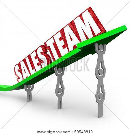 Sales Team Lifting Words Arrow Reaching Selling Goal Target