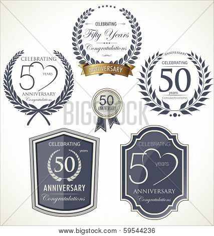 Anniversary Labels And Laurel, 50 Years