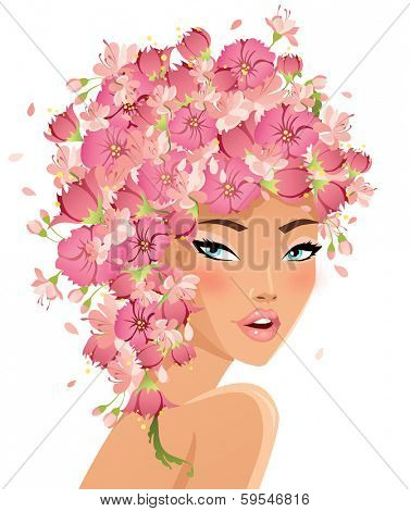 Beautiful girl with flower hair