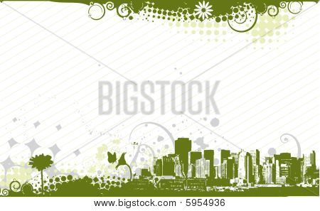 abstract urban grunge city background with floral halftone element poster