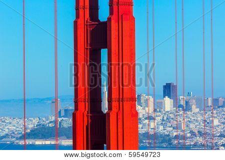 San Francisco Golden Gate Bridge view through cables in California USA