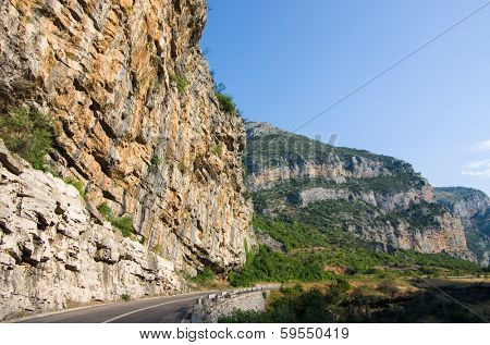 rockface near Podgorica on the road to Kolasin and Zabliak in Montenegro