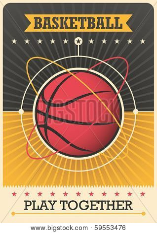 Retro poster with basketball ball. Vector illustration.
