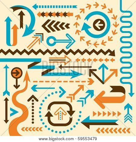 Set of isolated arrows. Vector illustration.