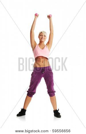 Young beautiful woman during fitness time and exercising with dumb-bell, isolated on white background poster
