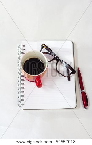 Notebook Glasses Coffee Cup