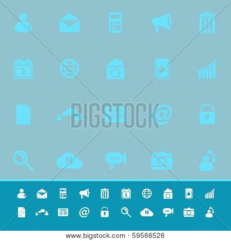 Mobile Phone Color Icons On Blue Background