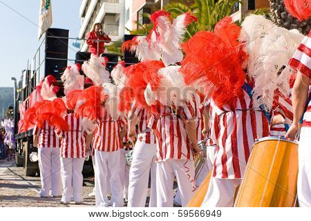 Sesimbra, Portugal, February 12, 2013: The percussion musical section called Bateria, playing for the Samba dancers in the Brazilian Carnival. Feb,12,2013 in Sesimbra, Portugal