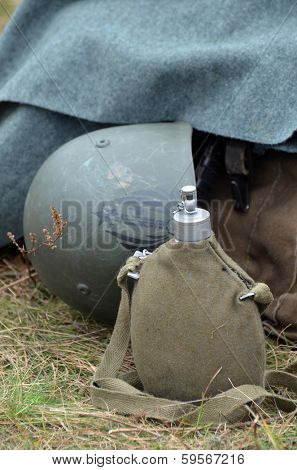 KIEV, UKRAINE -NOV 2:The Italian military equipment of WWII in the reenactors' camp during during historical reenactment of WWII, Dnepr river crossing 1943, November 2, 2013 Kiev, Ukraine
