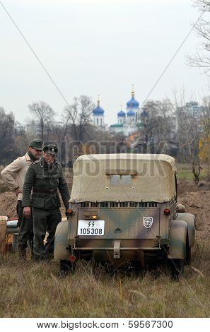 Kiev, Ukraine - November 1: German historical military transport is displayed on the Field of Battle military history festival on November 1 , 2013 in Kiev, Ukraine