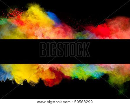 Freeze motion of colored dust explosion in stripe shape, isolated on black background