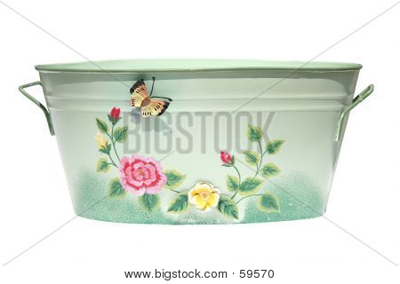 Bucket With Butterfly And Flowers