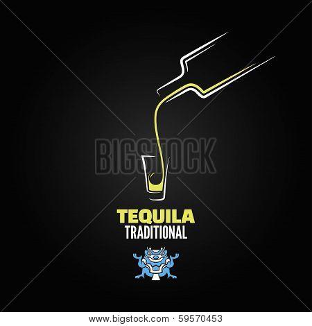 tequila shot bottle glass menu design background