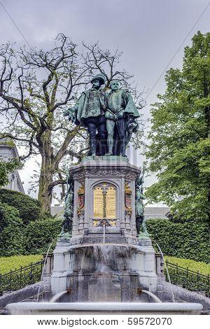 Statue of Egmont and Hoorne on Petit Sablon (Kleine Zavel) Square in Brussels Belgium poster
