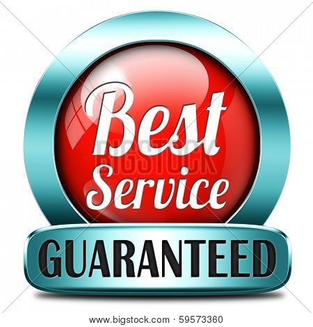 best service 100% customer satisfaction guaranteed red sticker label or button