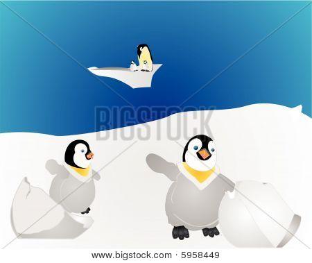 Penguins in the Antartic illustration