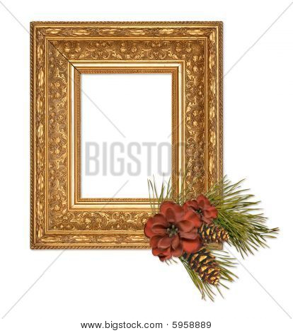 gold christmas frame