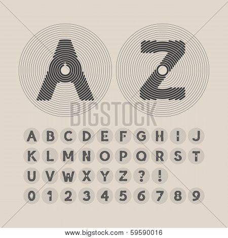 Abstract Line Circle Font And Numbers, Eps 10 Vector