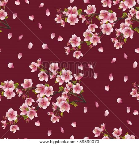 Seamless Background Texture With Branch Of Cherry Tree