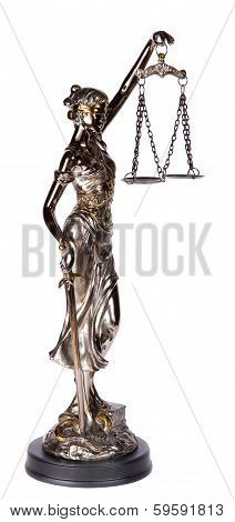 Themis, Mythological Greek Goddess, Isolated Over White Background