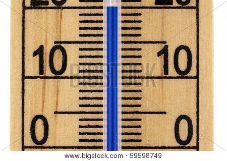 Straight Close Up Mercury Room Thermometer In Celcius