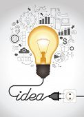Concept of productive business ideas. Lightbulb with drawing graphics around. Lamp is plugged. Cable forms a word idea. The file is saved in the version AI10 EPS. This image contains transparency. poster