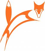 simplified fox leaping to the right and looking out. poster