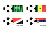 An Illustration of Soccer Balls or Footballs with Flags of Saudi Arabia Senegal Principality of Sealand and Serbia on Isolated on A White Background.. poster
