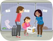 Illustration of a Girl and Her Mom Handing Over a Cat in a Cattery poster