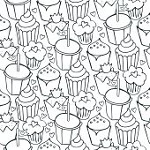 so many decorated cupcakes monochrome white and gray sweet seamless pattern poster