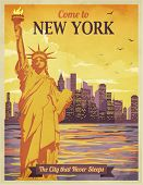 Travel to New York Poster - Vintage travel advertisement with New York City and Statue of Liberty against the sunny sky; hand drawn vector illustration poster