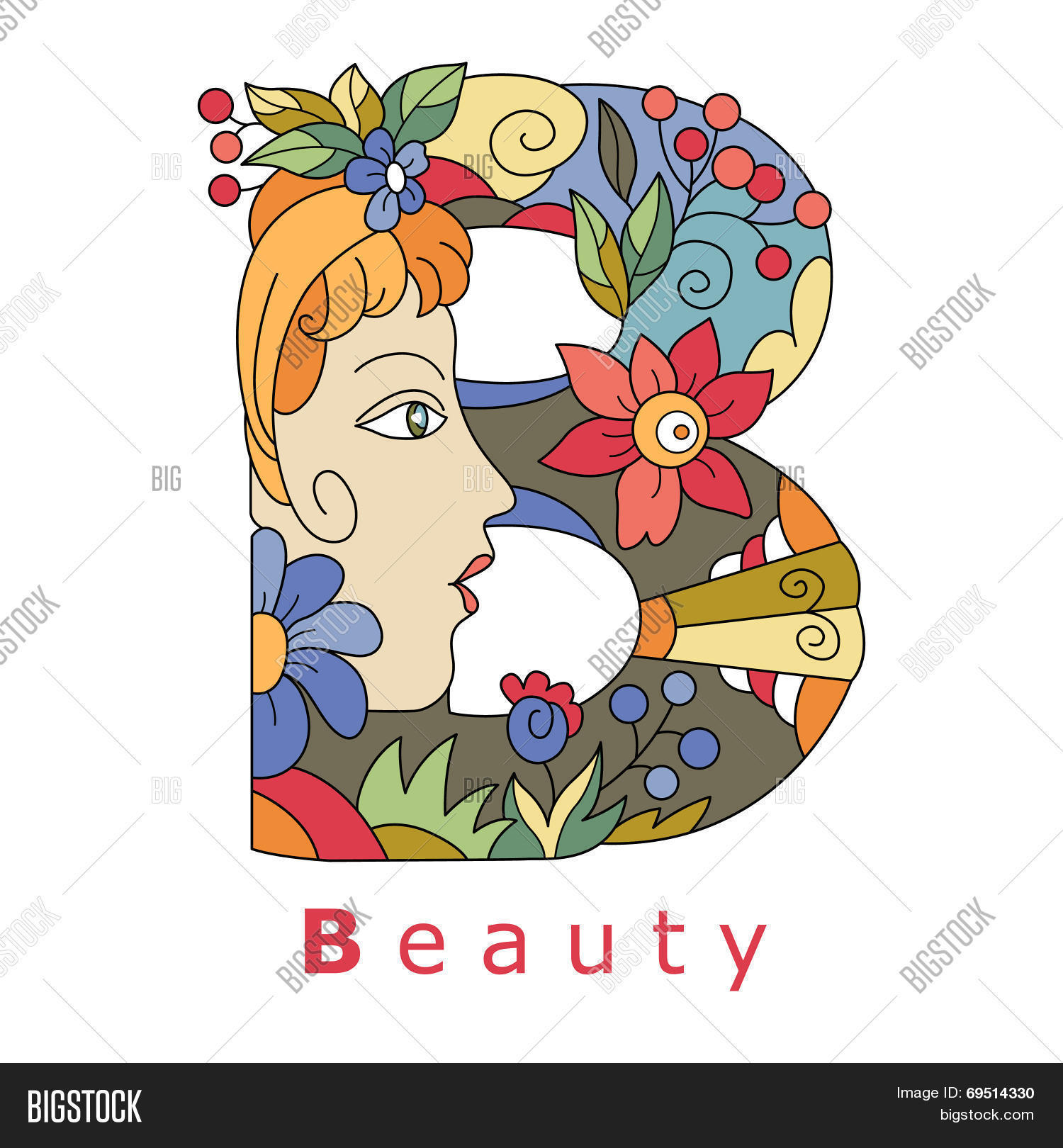 747e3941fec2 decorative initial capital letter B with a face of pretty woman and  decorative flowers. Vector image.