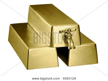Gold Bars With Faucet
