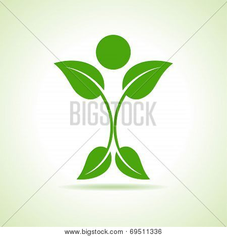 leaf make a person icon stock vector