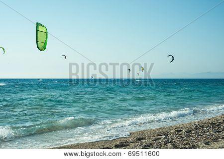 Kitesurfers On Milos Beach