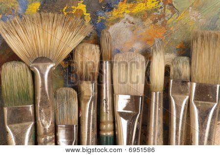 Artist's Brushes On Pallet