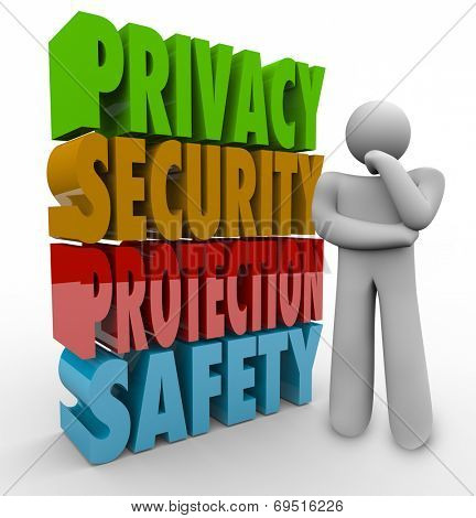 Privacy, security, protection and safety 3d words beside a person thinking about keeping personal information and data safe from theft and hacking