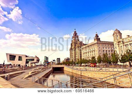 Cityscape of Liverpool Pier Head.