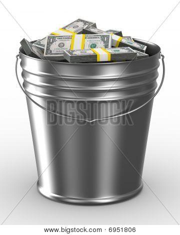 Ведро с деньгами на белом фоне. Изолированные 3D изображения