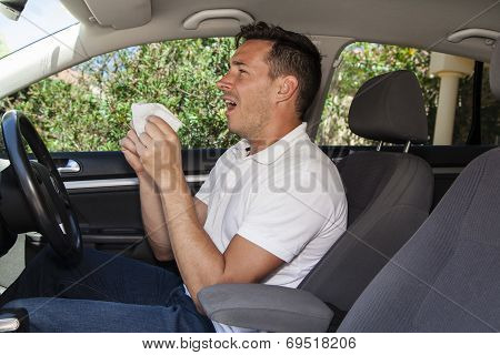 Man Sneezing In Car